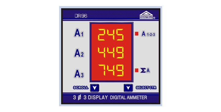 Indotech Three Phase Digital Ammeter, Digital 3 Phase Ammeter